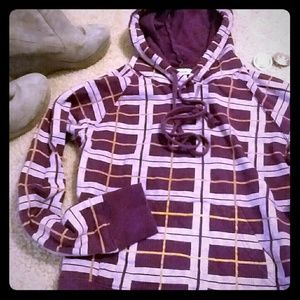 Tops - Purple plaid hoodie with front pocket